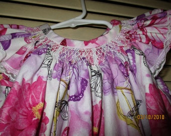 Butterflies and Flowers Bishop Smocked Dress