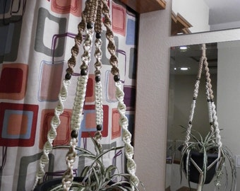 Macrame Plant Hanger IVORY and SAND 8 Brown Beads