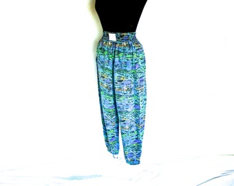 vINTaGe 9o'S muSCLe paNTs wITh eLaSTiC waIST aNd aNKleS and ZanY ZeBra prINt on cOttON fAbRIc