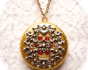 Large Goldtone Locket, Silver Filigree Antique Gold Brass Locket, Picture Locket, Long Necklace, Photo Locket, Wedding Birthday Gift for Her