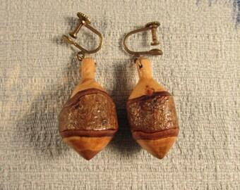 Vintage hand-made wood-turned drop screw-back earrings