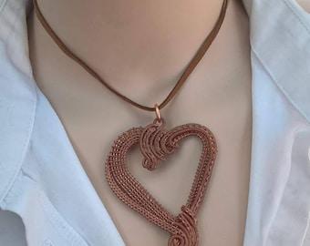 Wire pendant - Heart - copper/sterling silver