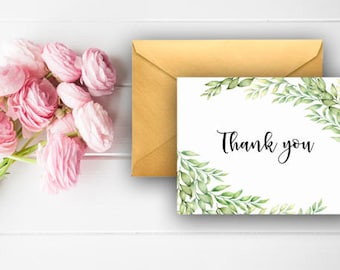 Eucalyptus Leaves Thank You Cards, Watercolor Thank You Notes, Bridal Shower Thank You, Green, Digital Download, Printable Cards, 904