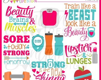 Fitness clipart, workout clipart, exercise clipart, gym clipart, instant download
