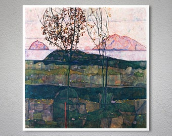 Setting Sun by Egon Schiele - Poster Paper, Sticker or Canvas Print / Gift Idea