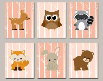 WOODLAND Nursery Art Baby Girl Nursery Woodland Nursery Decor Forest Animals Forest Friends Birch Tree WALL ART Set of 6 Prints Or Canvas