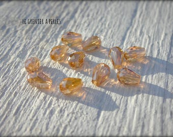 Drops 5 x 2 mm Light Topaz AB X 25 Crystal from China