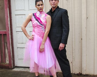 Pink Rockstar Dress. Silk and sequined bodice and tulle skirt. Size XS.