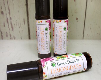 Lemongrass Essential Oil Roll-On Aromatheraphy - Vegan - Green Daffodil