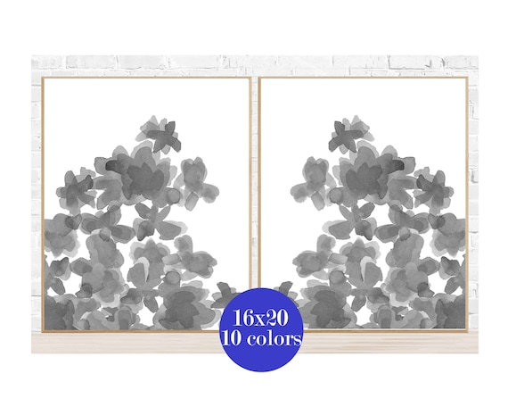 Gray Flowers Wall Decor, 16x20 Set of 2, Gray Posters Available in 10 Colors