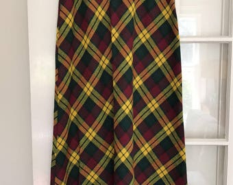 Vintage high waisted yellow, green burgundy plaid maxi skirt