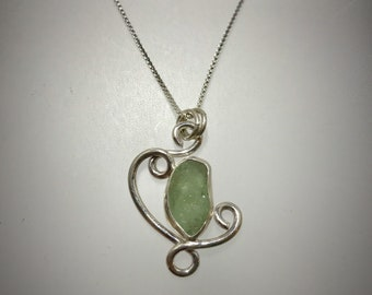 Sterling Piece of Maine Swirl Necklace with Aqua Sea Glass