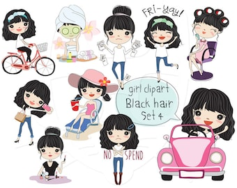 Black hair girl clipart ,girl stickers clipart set 4 instant download PNG file - 300 dpi