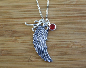 Angel Wing Necklace, Personalized Initial Necklace, Monogram Jewelry, Birthstone Necklace, Meaningful Gift