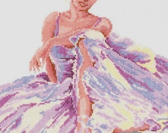 Cross Stitched Picture Ballet Dancer, Finished Stitch Dancer, Pretty Girl Cross Stitch