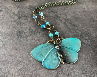Turquoise Blue Butterfly Pendant Necklace, Nature Inspired Jewelry, Swarovski Crystal Beaded Necklace, Hand Painted Patina Pendant, Brass