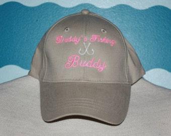 Daddy's Fishing Buddy Baseball cap - Youth Girl's Ball Cap - Custom Fishing Hat for Girls - Summer Youth Baseball Hat - Embroidered Ball Cap