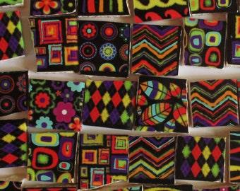 Ceramic Mosaic Tiles - Bright Colors On Black Mixed Designs Mosaic Tile Pieces - 36 Pieces - For Mosaic Art / Mixed Media Art/Jewelry