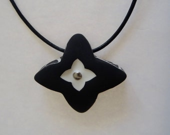 Hand made & hand painted porcelain necklace back and platinum