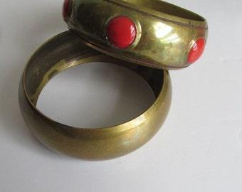 Pr 70s Indian Brass Bangle Bracelets Indian Jewelry Brass Jewelry Bohemian Bangle Bracelets Gypsy Bracelets Festival Jewelry Wide Bangle
