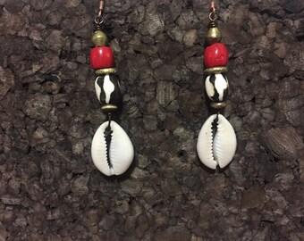 Coral, Kenyan Batik Bone and Cowrie Earrings