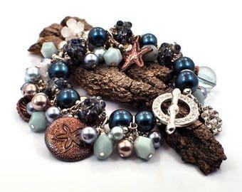 Blue Beaded Bracelet, Womens Bracelet, Gift for Her, Nautical Jewelry, Lampwork Bracelet, Bracelet for Her, Christmas Gift for Wife