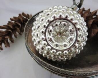 Silver Glass Christmas Ornament - Unique Shape Blown Glass, Vintage Christmas