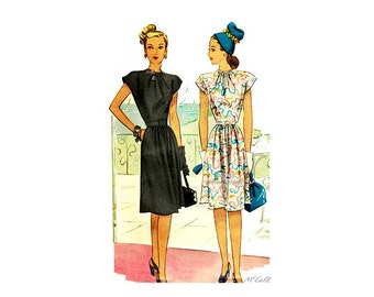 1940s Day Dress Pattern McCall 6402, Flare Skirt, Cap Sleeves, Tie Neck, Womens Fit and Flare Dress Vintage Sewing Patterns