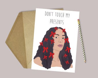 """Solange Knowles """"Don't Touch My Presents"""" Funny Christmas/ Holiday Card (Pop Culture Card, Christmas Card, RnB Icon Card)"""