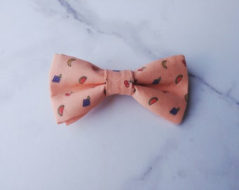 Fruity - orange bow tie for men, fruit pattern, butterfly knot summer gift for him