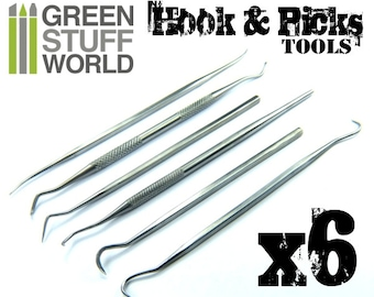 6x HOOK & PICK - Sculpting Tools - Dental Probe Scaler Green Stuff Wax Carver Tool