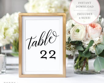Printable Table Numbers. Wedding Table Numbers. Table Numbers. Calligraphy Table Numbers. Table Number Cards. Table Numbers 1-40. (BR)