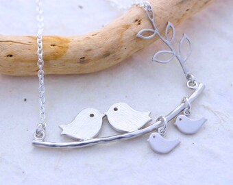 Bird necklace. Silver Love Bird Necklace . Mothers necklace.  Anniversary. First picture listing Others Upon request
