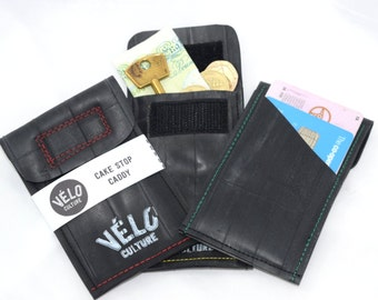 Cake Stop Caddy ™- upcycled inner tube bicycle wallet, money/credit card pouch, vegan