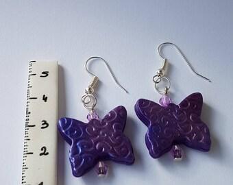 Earrings polymer clay Purple Butterfly beads