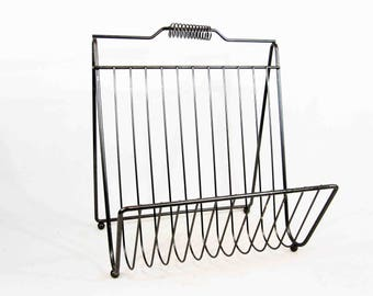 Vintage Wire Magazine / Vinyl Record Holder. Gunmetal Finish. Circa 1950's - 1960's.