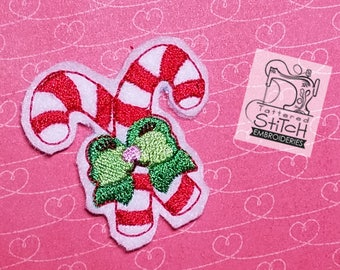 Happy Candy Cane Feltie - Machine Embroidery Design. 4x4 hoop Instant Download. Felties. Christmas Holiday Candy Cane Feltie