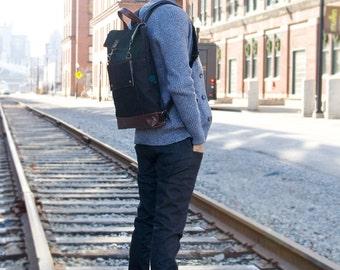Professional Backpack, Mens Leather Canvas Backpack, Womens Laptop Backpack, Grad School Bag, School Backpack, 17 inch Laptop Backpack