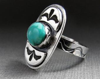 Tribal Turquoise et argent Sterling anneau - grave en argent - bague Turquoise - Boho Chic