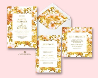 Castlefield Yellow Romantic Floral Luxury Wedding Event Invitations RSVP Menu Belly Band Placecards Stationery Customized Printable