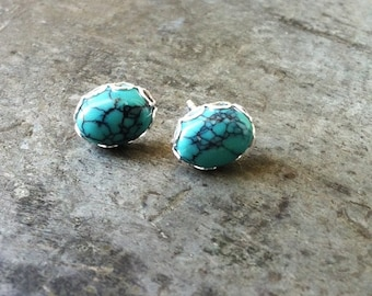 Natural Turquoise Studs, Sterling silver filigree studs