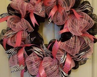 Black & pink zebra stripe,deco mesh,decoration,wreath,door decor