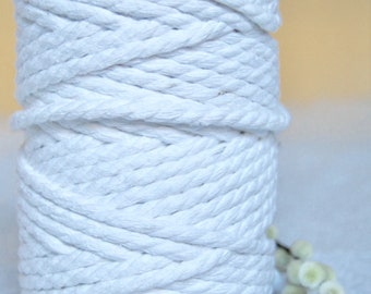 8mm x 80m Twisted Cotton Cord / Macrame  Cord / Cotton Rope - Natural Ecru or Bleached White
