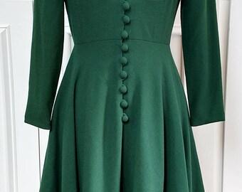 1970s Mollie Parnis Boutique Exquisite Green Wool Crepe Dress--Sz. 8 (SKU 10332CL)