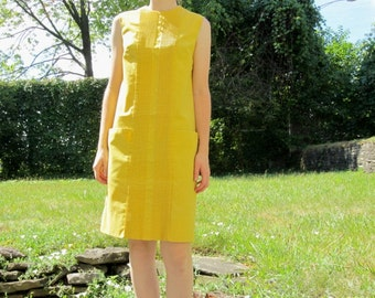 60/70s Yellow Pocket Pleated Summer Short Tank Dress S