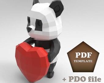 Cartoon Panda Papercraft, Low poly Panda, Papercraft panda, DIY panda, Papercraft animal, Paper Panda, Papercraft low poly, Panda pepakura