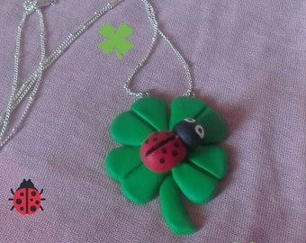 Pendant Necklace with polymer clay Ladybug 4 leaf clover
