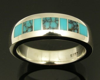 Turquoise Wedding Ring in Sterling Silver, Spiderweb Turquoise and Turquoise Wedding Band, Turquoise Band