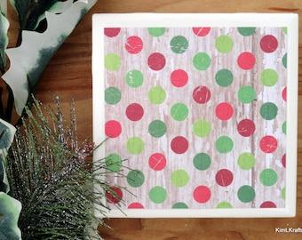Polka Dot Coasters, Dots Tile Coasters, Coasters, Tile Coasters,  Drink Coasters, Distressed Wood, Holiday Coasters, Coaster Set of 4