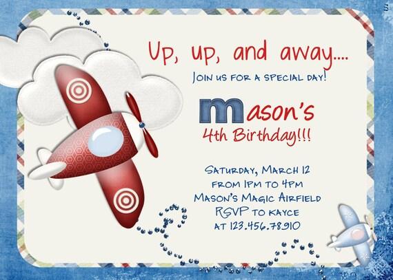 Airplane Birthday Invitation Airplane Printable Airplane Party - Airplane birthday invitation template